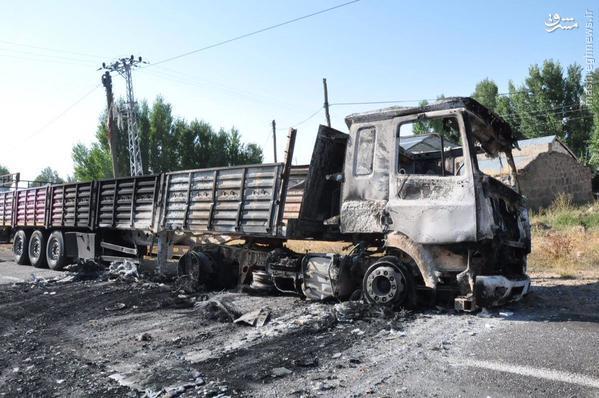حمله پ.ک.ک به کاروان سوخت در شرق ترکیه+تصاویر