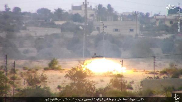 انهدام نفربر ارتش مصر توسط داعش+تصاویر