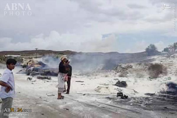 حمله جنگندههای سعودی به کامیون آرد یمنیها +تصاویر