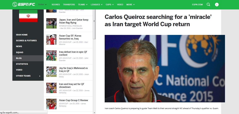 گزارش ESPN از کیروش و تیم ملی ایران