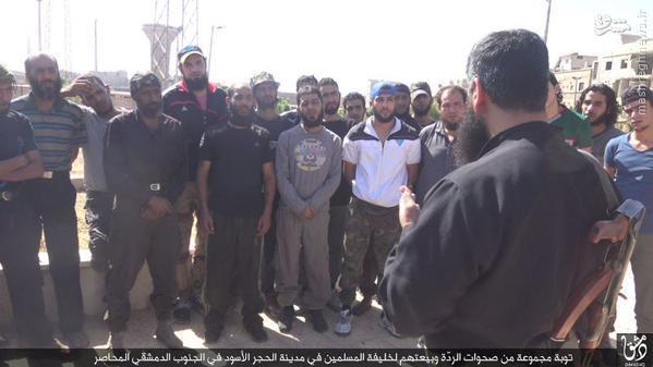 بیعت گیری زوری داعش در جنوب دمشق+تصاویر