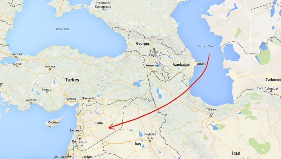 عکس/ مسیر شلیک موشک روسیه به سمت داعش