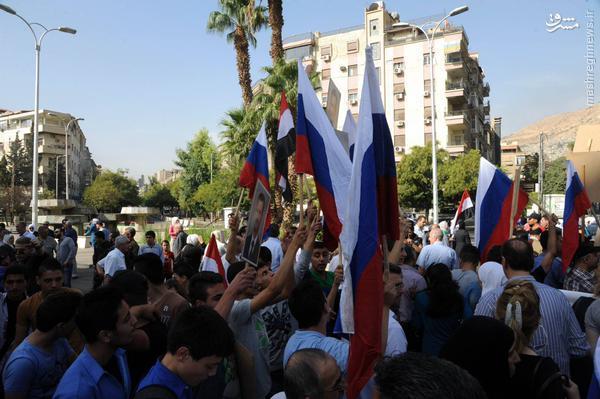 تظاهرات حمایت از روسیه در دمشق+تصاویر