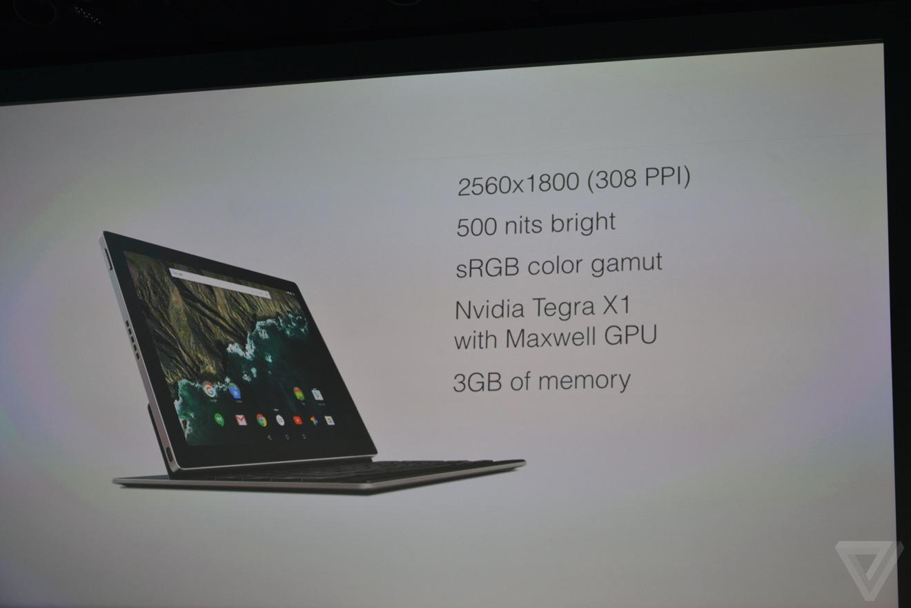 تبلت پیکسل سی گوگل رسما رونمایی شد: نمایشگر 10.2 اینچی، پردازنده تگرا ایکس 1 و 3 گیگابایت رم