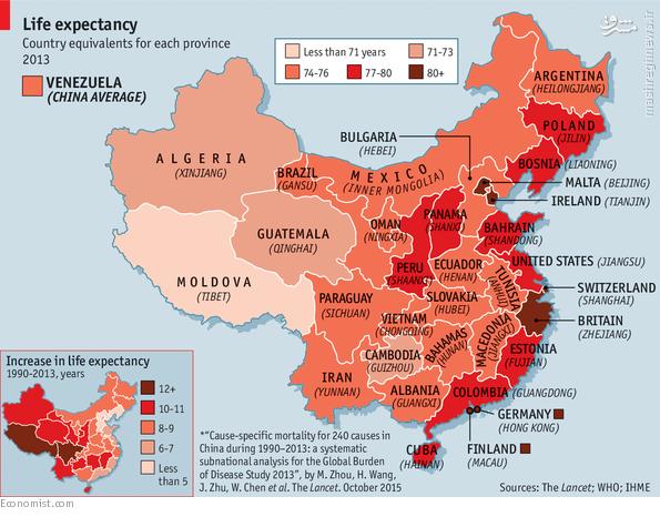 مردم چین بیشتر عمر می کنند یا ایران؟ + نقشه