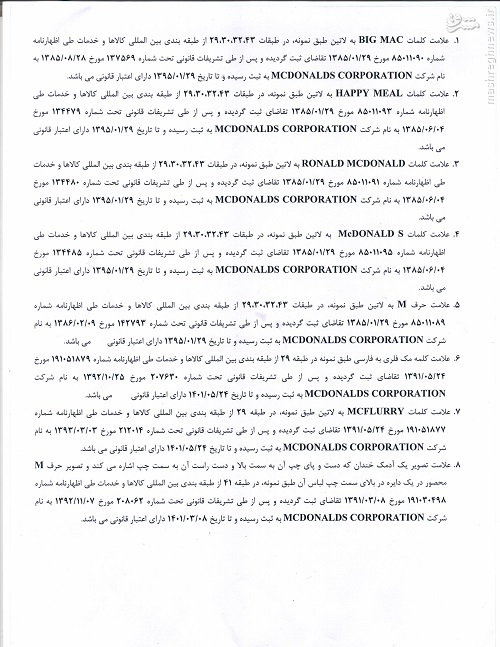 ثبت 8 شرکت آمریکایی توسط «مک دونالد» در ایران +جدول