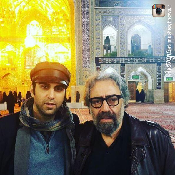عکس/ کیمیایی پدر و پسر به پابوس امام رضا(ع) رفتند