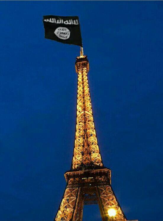 طرح/ پرچم داعش بر فراز برج ایفل