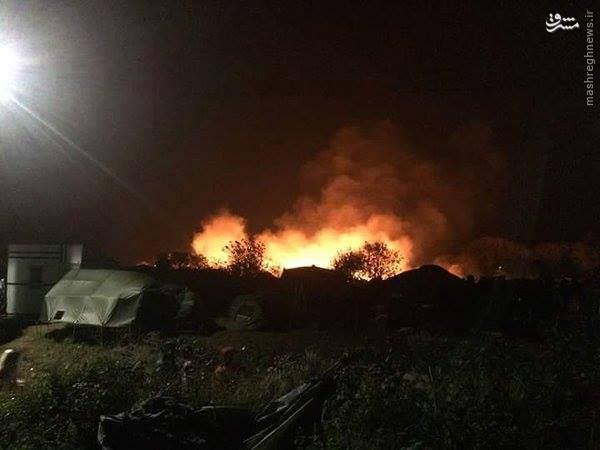 آتش زدن اردوگاه پناهندگان در فرانسه+تصاویر