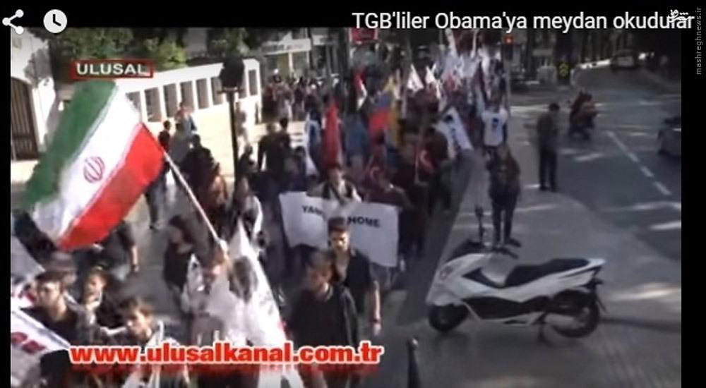 عکس/ پرچم ایران در تظاهرات ضد آمریکایی در آنتالیا