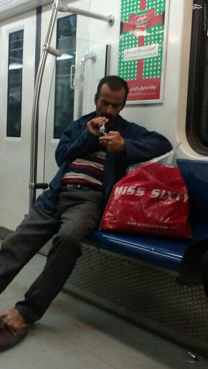 عکس/ مصرف شیشه در مترو تهران