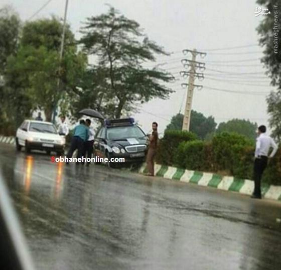 عکس/ سانحه عجیب برای مرسدس بنز پلیس