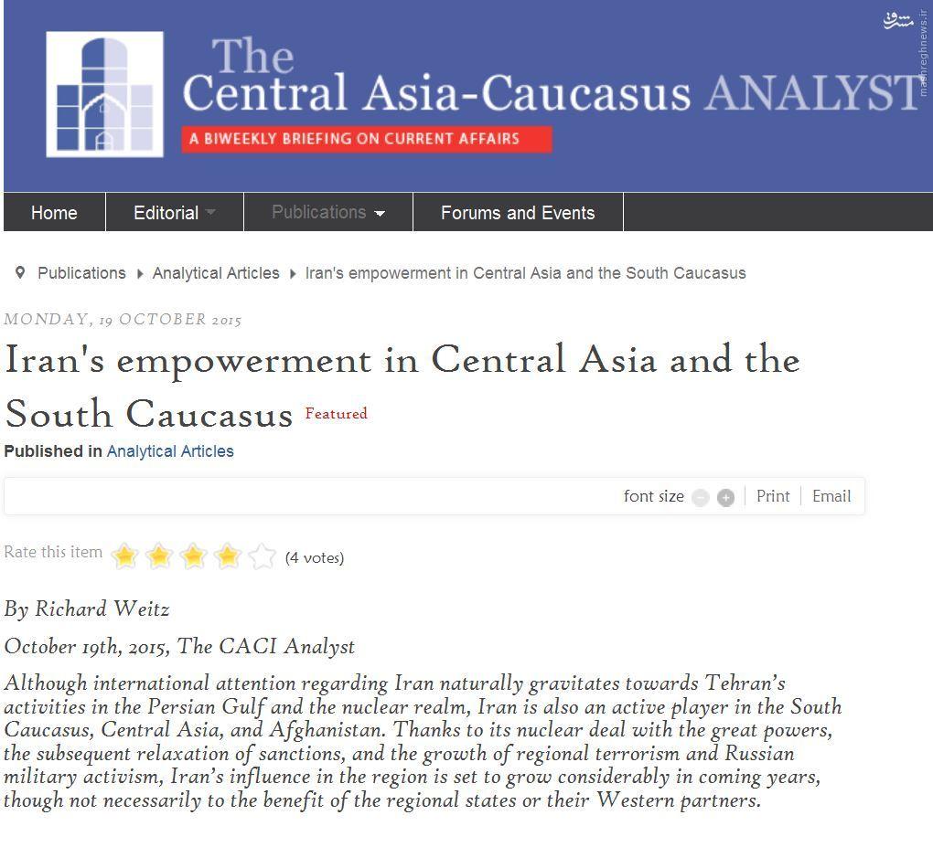 رفع تحریمها باعث توانمند شدن ایران در آسیای مرکزی و جنوب قفقاز خواهد شد