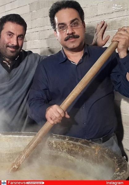مجری تلویزیون در حال پخت نذری اربعین +عکس