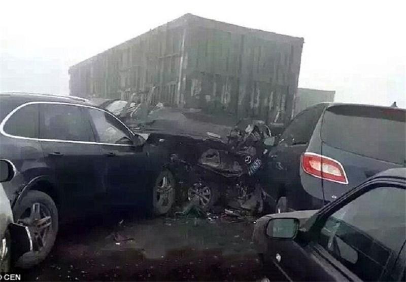 عکس/ تصادف زنجیرهای شدید در چین