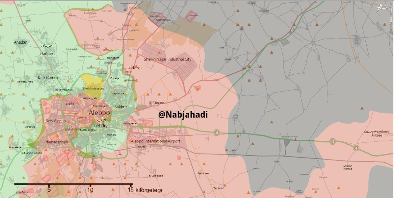 چه مناطقی از حلب در تصرف تروریستهاست +نقشه
