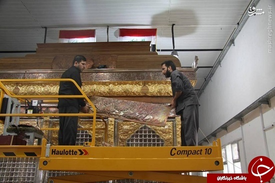 پایان مونتاژ ضریح جدید حضرت عباس(ع)+تصاویر