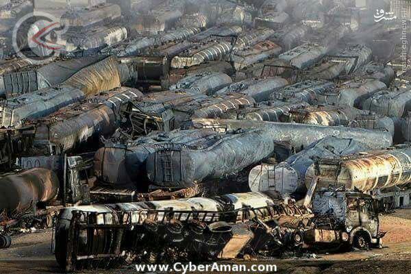عکس/ انهدام 1000تانکر داعش در حملات روسیه