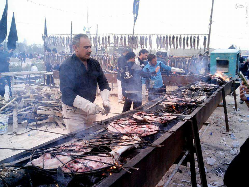 عکس/ کباب ماهی مخصوص زائران اربعین