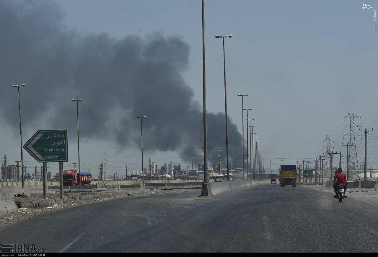 تصاویر اطفاء حریق پتروشیمی بوعلی سینا در ماهشهر