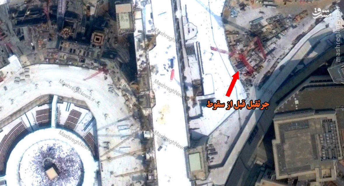 تصویر ماهواره ای سقوط جرثقیل در مکه