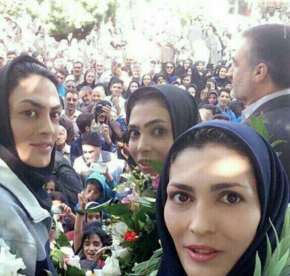 عکس/ استقبال مردم سمیرم از خواهران منصوریان