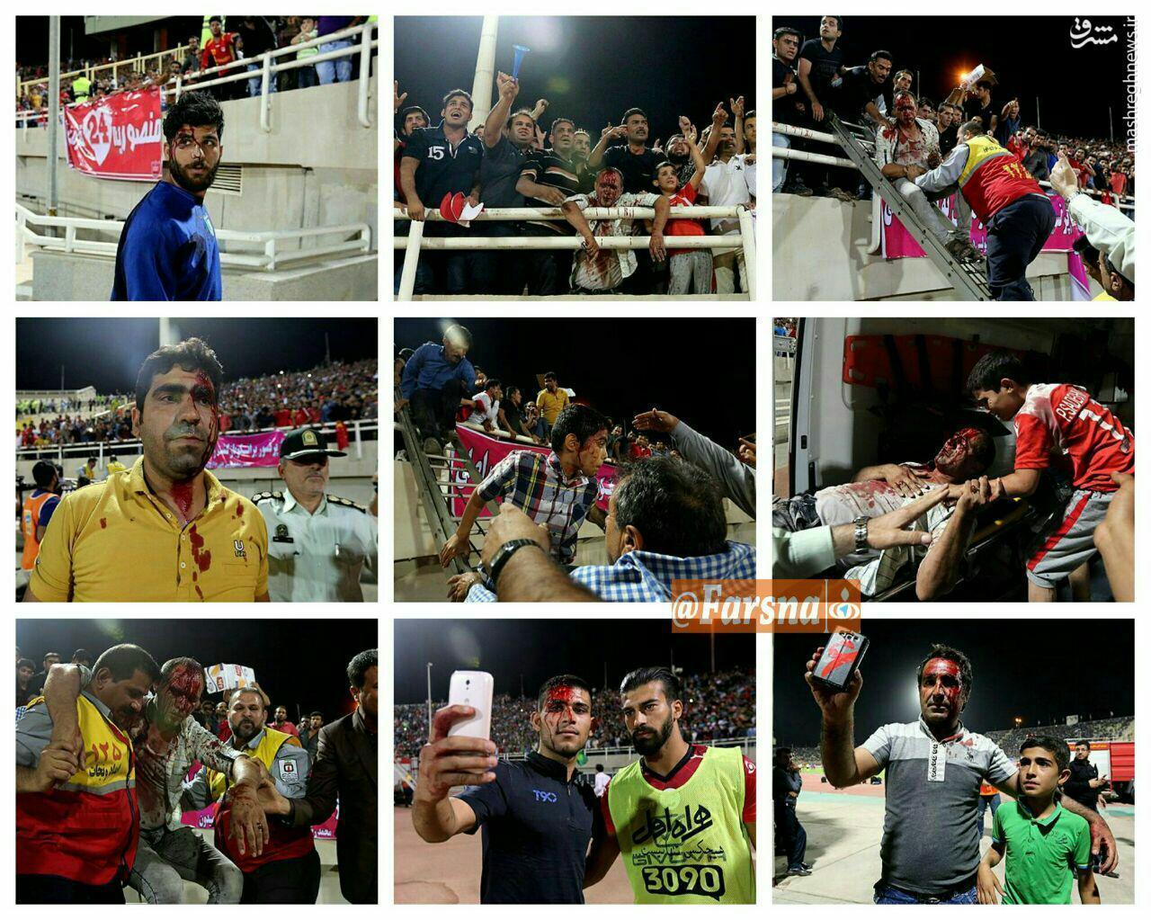 عکس/ درگیری خونین هواداران استقلال خوزستان و پرسپولیس
