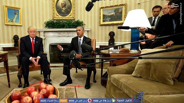 زبان بدن اوباما و ترامپ در اولین دیدار +تصاویر