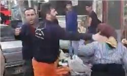 بیحرمتی مأمور شهرداری فومن با زن دستفروش +عکس