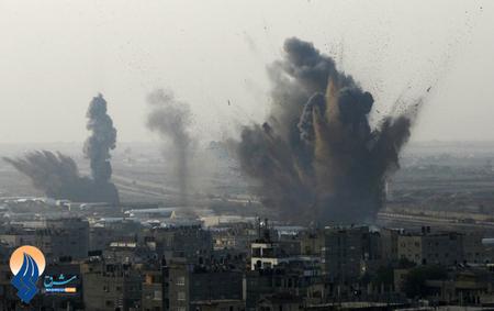 انفجار بمب های متجاوزان صهیونیست در غزه