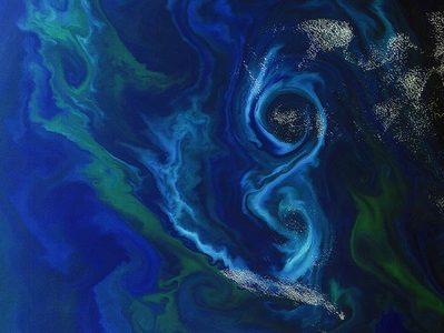 شکوفه فیتوپلانکتون به شکل هشت در جنوب اقیانوس اطلس، در شرق جزایر فالکلند انگلیس