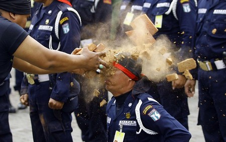 مانور آمادگی یک شرکت امنیتی خصوصی برای مقابله با تظاهرات،اندونزی