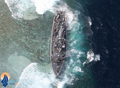 به گل نشستن کشتی USS گاردین نیروی دریایی آمریکا در سواحل مرجانی غرب فیلیپین