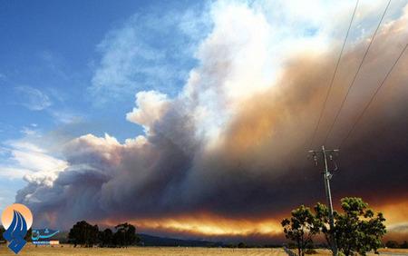 دود ناشی از آتش سوزی جنگل های ویکتوریا _ استرالیا