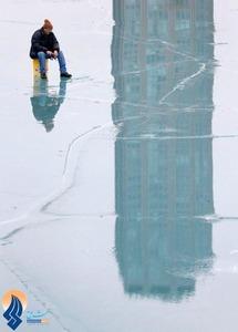 ماهیگیری در دریاچه یخ زده میشیگان ـ آمریکا