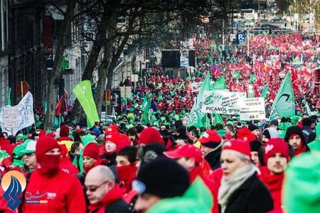 راهپیمائی اتحادیههای کارگری خواهان افزایش دستمزد کارگران _ بلژیک