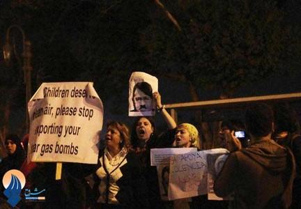 اعتراضات مردم مصر علیه سفر جان کری به این کشور مقابل کاخ ریاست جمهوری در قاهره