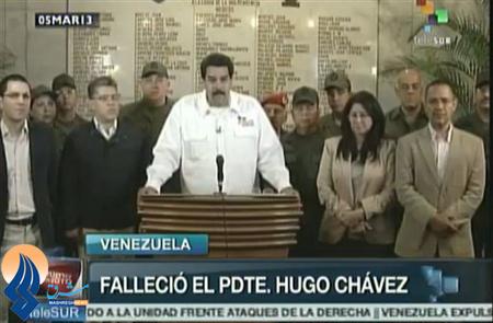 اعلام مرگ چاوز توسط معاون رئیس جمهور مادورو در تلوزیون ونزوئلا
