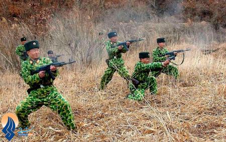 آموزش نظامی برای سربازان ارتش کره شمالی در مکانی نا معلوم