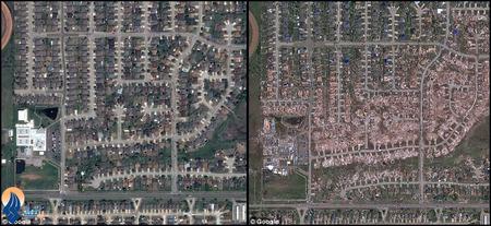 تصاویر هوایی قبل و بعد از وقوع طوفان در ایالت اوکلاهاما _ آمریکا