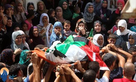 تشییع پیکر شهید جوان فلسطینی در کمپ آوارگان جنین _ کرانه باختری