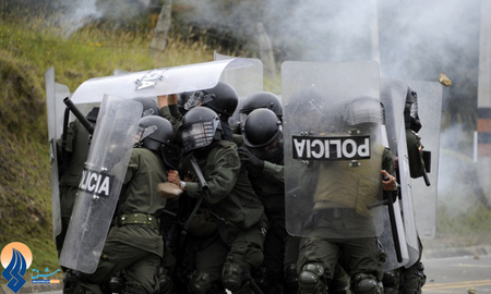 درگیری پلیس کلمبیا با کشاورزان معترض در شهر لاکالرما
