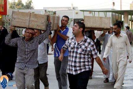 تشییع قربانیان انفجار تروریستی روز گذشته در بغداد
