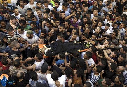 تشییع پیکر اسلام تبسی،از اعضای گروه جهاد اسلامی که به دست سربازان صهیونیستی به شهادت رسید