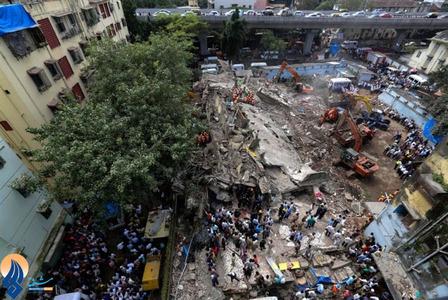 4کشته براثر فروریختن یک ساختمان مسکونی در مرکز شهر بمبئی _ هند