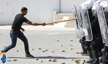 مانور پلیس ضدشورش در غزه