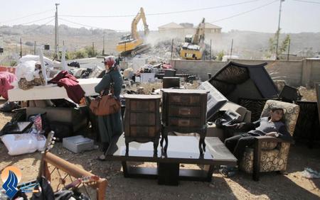 تخریب خانه های فلسطینیان شرق بیت المقدس توسط سربازان صهیونیستی