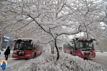 بارش برف در استان مودا جینگ چین
