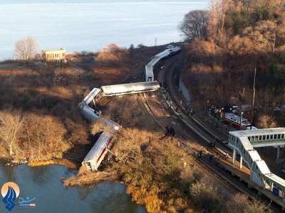 خارج شدن یک قطار شهری از ریل و کشته شدن 4 خدمه آن در شمال شهر نیویورک