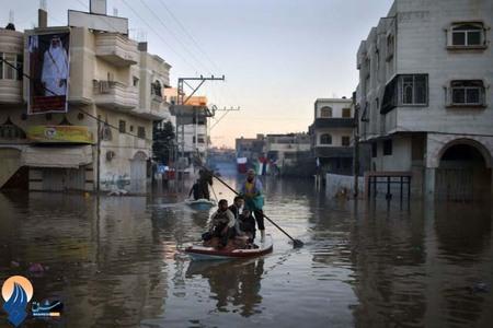 مشکلات عبور و مرور مردم غزه در سیل
